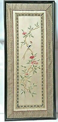 Painting IN Embroidery On Silk Pattern China Bird On Branches Peonies 1900
