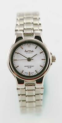 Activa Womens Watch Silver Stainless Steel Water Resist 30m White Battery Quartz