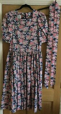 Vintage 1980's Laura Ashley Pink & Blue Floral Tea Dress with Belt/Sash Size 14