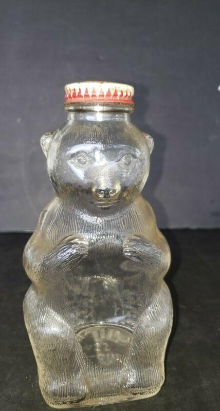 """Vintage Glass Bear Bottle Bank Snow Crest Beverage Bottle Salem, Mass 8"""" Tall"""