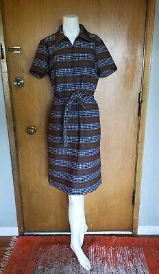Vintage 1960s 1970s Shirt Dress Size Large 12 Houndstooth Orange Collar -