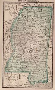 RARE Antique MISSISSIPPI Map 1886 RARE MINIATURE Vintage Map