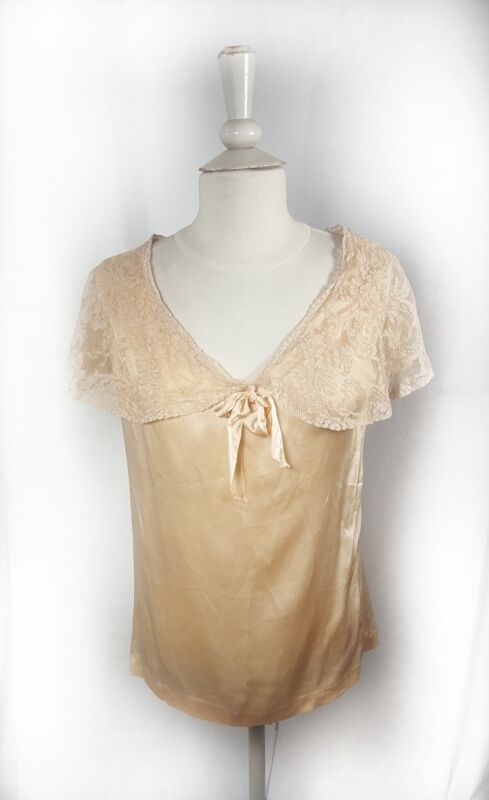 Antique Vintage Lingerie Top Silk Size Small Handmade Lace