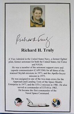 NASA Astronaut Richard Truly hand-signed bookplate Free P&P