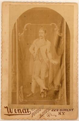1880 Cabinet Card George Lippert Three-legged Man Circus Sideshow Wendt New York