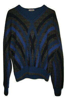 GIANNI VERSACE VINTAGE 90's WOOL ALPACA SWEATER MENS WILD ABSTRACT ITALY MADE L
