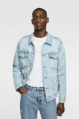 Zara Man Basic Trucker Denim Jacket - Light Blue -  Men's Size L Large