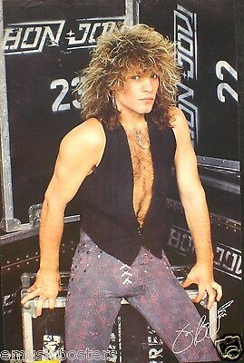Bon Jovi  Jon Sitting On Tour Crates  Commercial Poster From 1986 Hair Band Rock