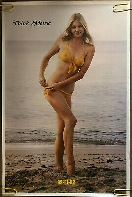 Original Vintage Poster Think Metric 92-61-92 Sexy Woman Lady measurements 60s