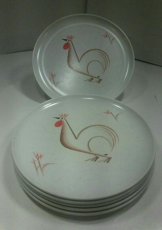 "6 Vintage Debonaire Speckled  Rooster Melmac Plates 9.75"""