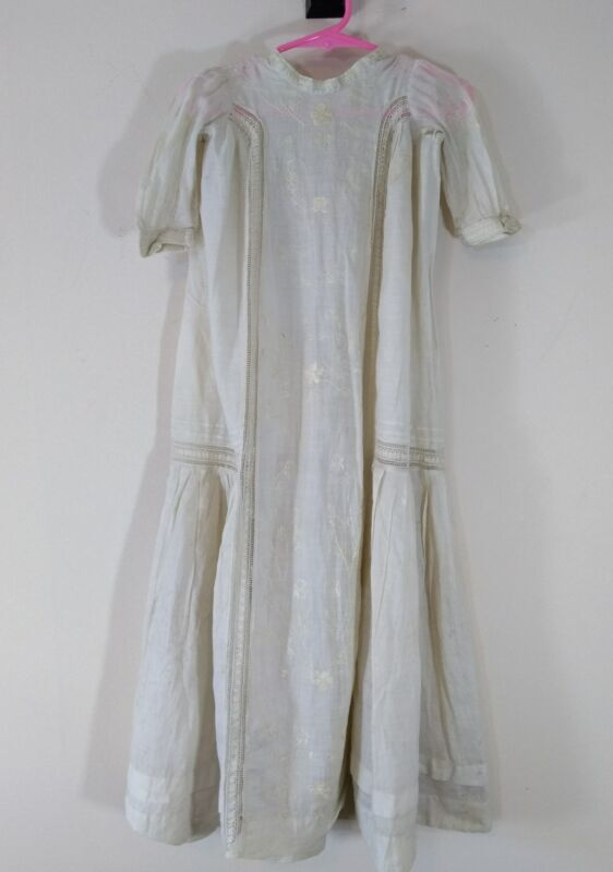 Antique Ribbon Embroidered Lace Baby Infant Christening Gown