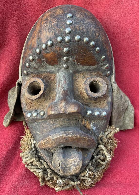 Dan Grebo Tribe Vintage Mask With Metal & Raffia Adornments ~ Liberia ~ Africa