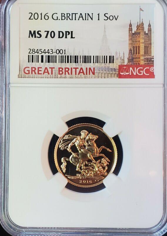2016 Great Britain Gold Sovereign MS 70 DPL Top Pop Finest Known Pop-2 Rare