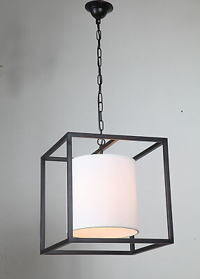 Industrial Square Hanging Pendant Lamp Chandelier with White Fabric Shade