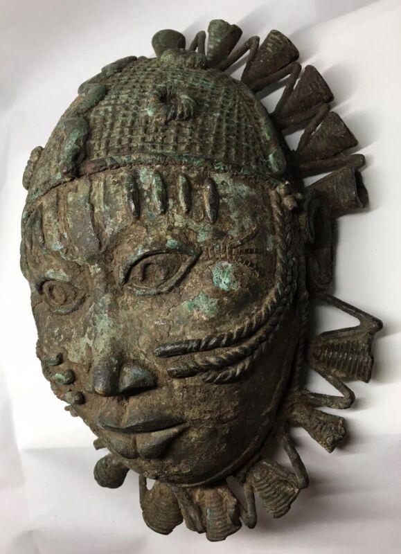FINE Antique African Tribal Art Bronze Mask Benin Nigeria Metallurgy  Artifact