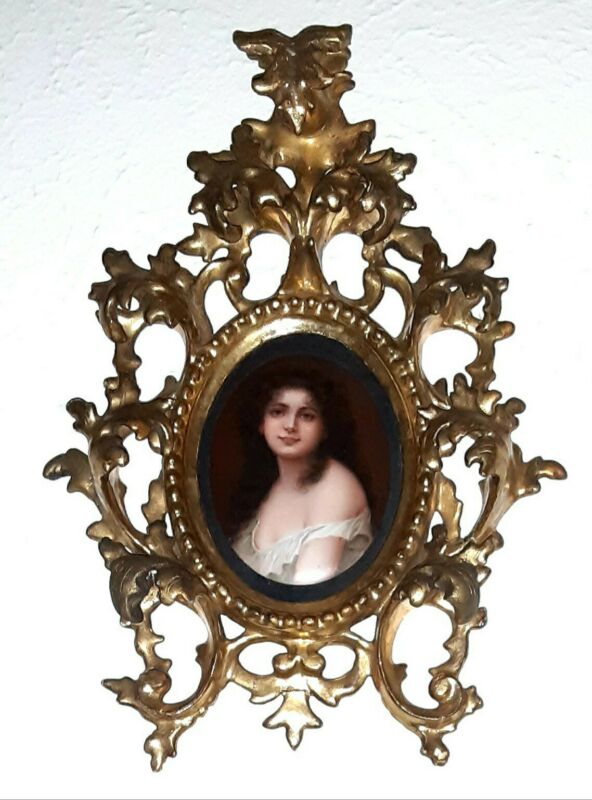 Antique Porcelain Portrait Painting Ornate Gilded Wood Frame Plaque