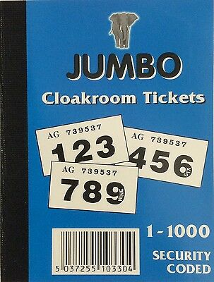 10 pack 1-000  Jumbo   raffle  /  cloakroom tickets - assorted colours