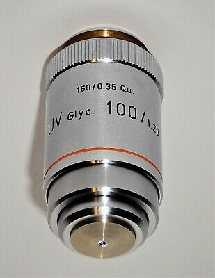 Leitz 100x Uv Glycerine Immersion Microscope Objective