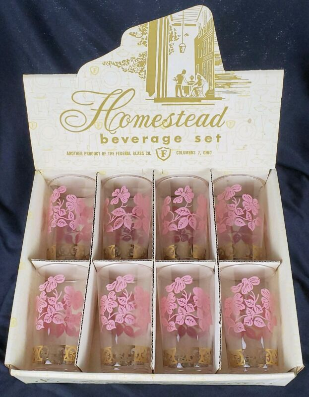 Vintage Federal Glass Homestead Beverage Glasses Pink Dogwood Flowers Gold Band