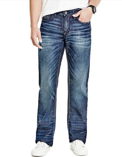 Guess da Uomo Relaxed Jeans Dritto Comodo Elasticizzato Denim Scuro Lavare