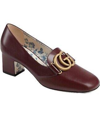 Gucci Big GG Malaga Kid Vintage Bordeaux Calfskin Leather Shoes 36+ 6.5