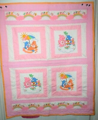 RARE Care Bear Quilted Crib Blanket Baby Blanket Lap Nursery 80s Fabric Cousins Care Bear Infant Blankets