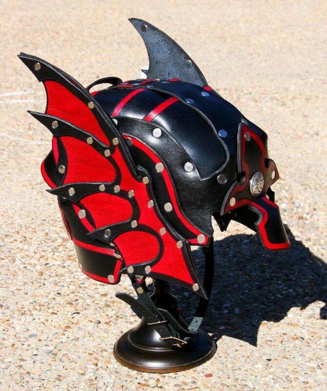 Dragon Winged Leather Half Helmet Fantasy Armor Motorcycle armour LARP cosplay