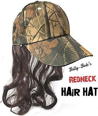 Camouflage BILLY-BOB RAY PONYTAIL-MULLET-HAIR-WIG Redneck Cap Hat - Billy Mullet Wig