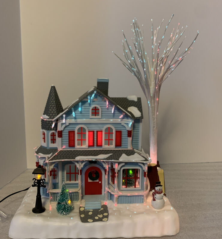 Avon Holiday Splendor Lighted Fiber Optic House Vintage 2001 Retro Nostalgic EUC