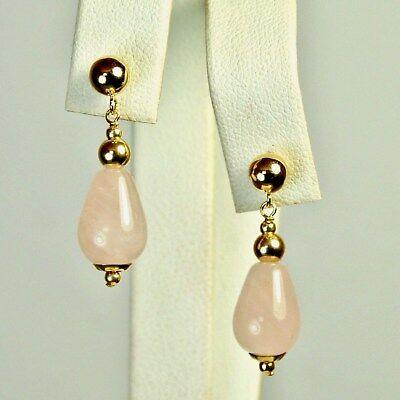 14k solid y/gold 12x8mm briolette natural Rose Quartz elegant earrings 2.6 grams ()