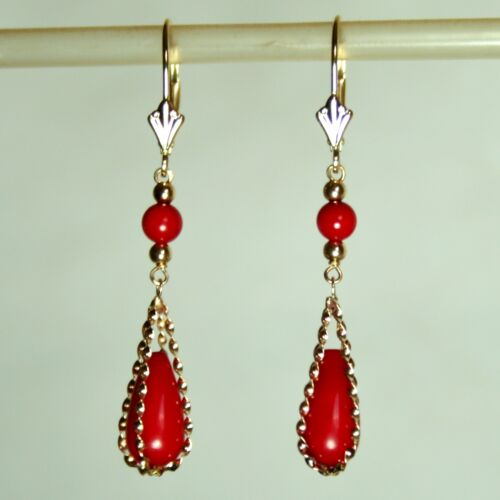 Elegant 14k solid yellow gold authentic blood Red Coral earrings leverbacks