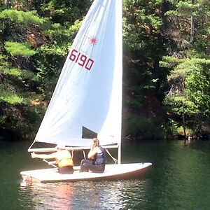 Laser sailboat with all the rigging