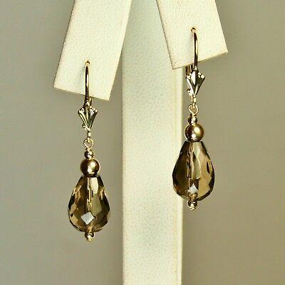 14k solid yellow gold 12x8mm briolette natural Smokey Quartz earrings 2.6 grams ()