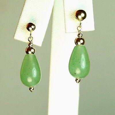 14k solid y/gold 12x8mm briolette natural Green Jade elegant earrings 2.7grams