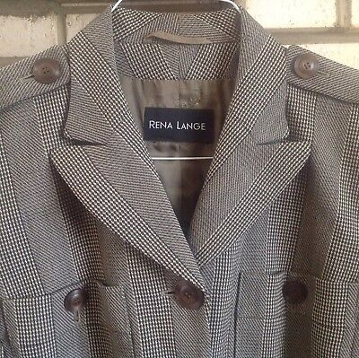 Rena Lange 40/US 8 100% Virgin Wool Brown Herringbone Lightweight Fitted Jacket