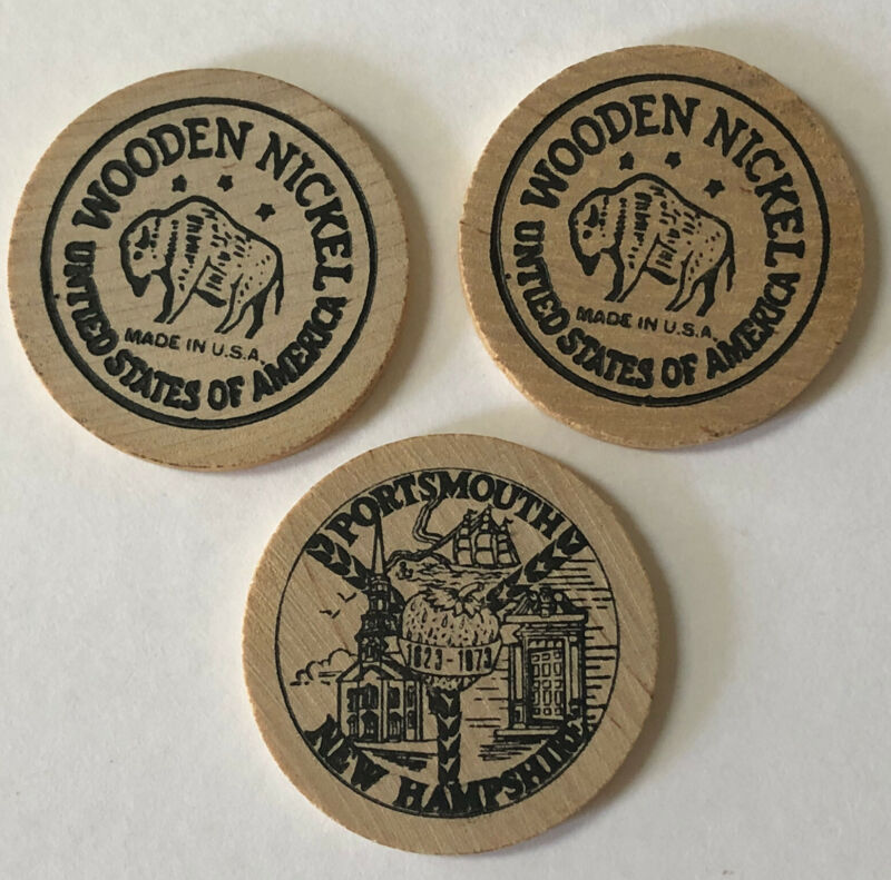 Lot of 3 Vintage 1973 PORTSMOUTH New Hampshire WOODEN NICKELS 350th Anniversary