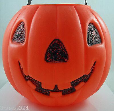Vintage Halloween Blowmold Trick Treat Pail Jack O Lantern Cat 2 Sided Rare
