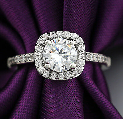 18K White GOLD GF Vintage HALO SQUARE Simulated Diamond ENGAGEMENT WEDDING RING (Vintage Wedding Ring White Gold)