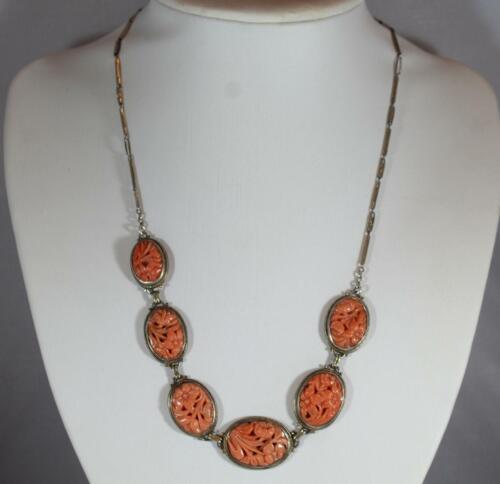 Antique Sterling Silver Natural Carved Flower Orange Coral Necklace