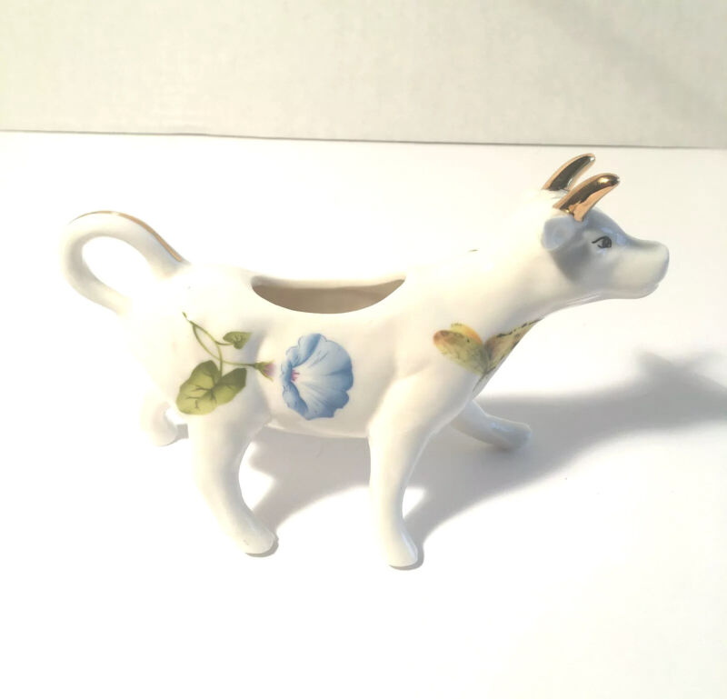 Porcelain Cow Coffee Creamer with Flowers