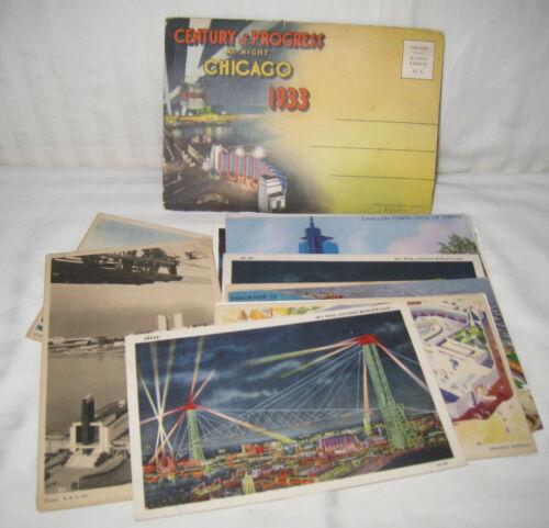 "14 1933 ""CHICAGO CENTURY OF PROGRESS WORLD'S FAIR"" PHOTO/ARTIST'S POSTCARDS 18 V"