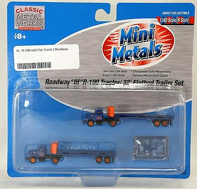 N Scale Roadway Ih R-190 Tractor/ 32' Flatbed Trailer Set - Mini Metals 51122