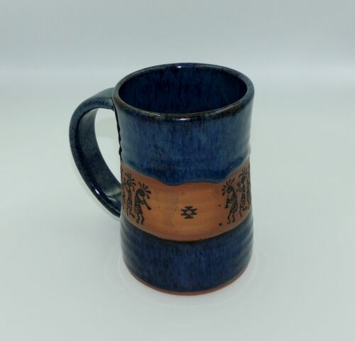 "Always Azul Pottery Villa Grove Colorado Beer Mug 6"" tall Dancing Flute Indians"