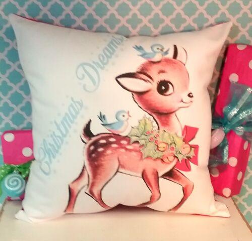 Handmade Vintage Inspired Reindeer Christmas Pillow, Retro Kitsch Holiday Decor