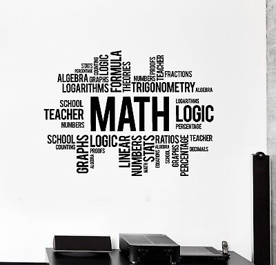 Vinyl Wall Decal Math Words Cloud Art School Decor Science Stickers (ig5137) - Math Decorations