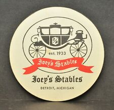 Vtg Joeys Stables Detroit Michigan Large Beer Cocktail Coaster Advertisement