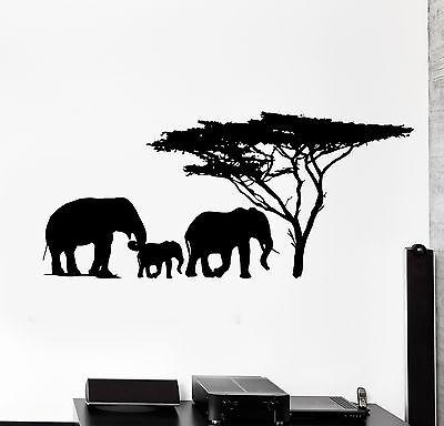 Wall Vinyl Decal Elephant Family Jungle Savanna Africa Home Interior Decor -