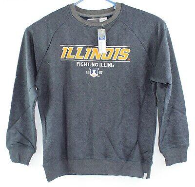 Bruzer Mens XL Illinois Fighting Illini Gray Oxford Crew Sweatshirt New w Tags Fighting Illini Oxford