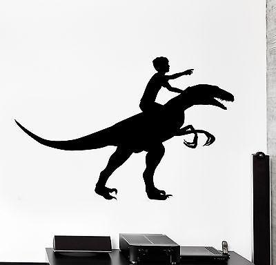 Z Boys Dino (Wall Decal Boy Riding Dinosaur Dino Animal Interior Decor)