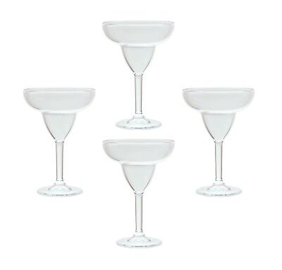 QG 12 oz Clear Acrylic Plastic Margarita Glass Goblet Set of - Margarita Glasses Plastic